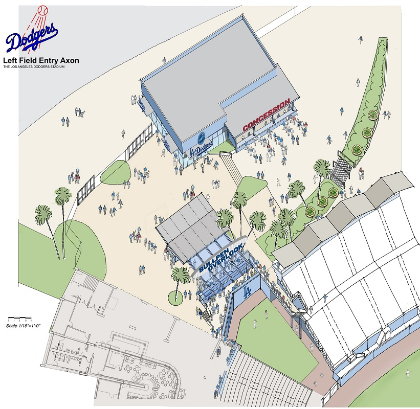 This artist rendering shows what the entrances to the Left Field Level and Left Field Pavilion will look like on opening day. (Image courtesy of DodgerInsider.com)