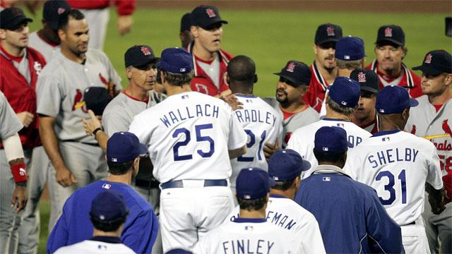 There were a lot of mixed feelings among major league players when the Dodgers shook hands with the Cardinals after Game-4 of the 2004 NLDS - and it hasn't happened since. (Photo credit - Chris Carlson)