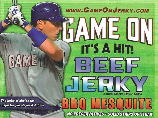 Scott Smith couldn't have picked a better spokesperson for his new Game On Jerky products that fan favorite A.J. Ellis. (Image courtesy of Game On Jerky)