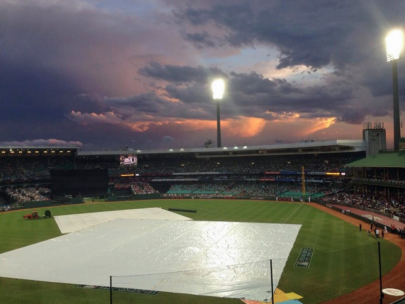 Under foreboding skies the 2014 season began after a brief 15-minute delay. (Photo credit - J.P. Hoornstra)