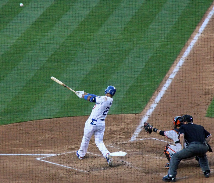 Although Matt Kemp has hit only eight home runs thus far this season, he hit two of them in the Dodgers 6-2 win over the Giants on April 6 at Dodger Stadium. (Photo credit - Ron Cervenka)