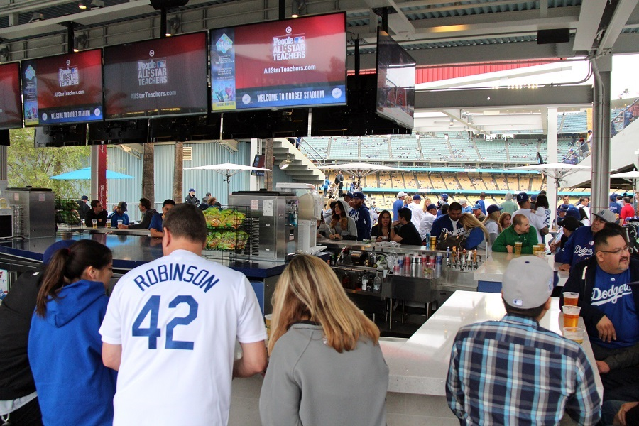 The Bullpen Overlook Bars are THE place to meet and hangout before and after Dodger games. (Photo credit - Ron Cervenka)