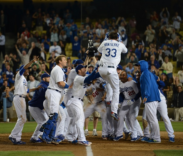 Next to Yasiel Puig's infamous 'slide-off' home run on July 27, 2013, Van Slyke's walk-off blast on September 10 was perhaps the biggest of the season in 2013. (Photo credit - Jon SooHoo)