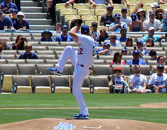 Except for one hanging 0-2 curveball, Kershaw was his normal brilliant self on Sunday afternoon. (Photo credit - Ron Cervenka)