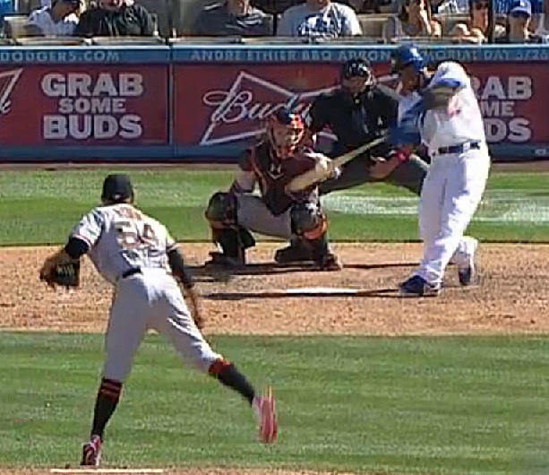 The Doders were down to their last out in the bottom of the 9th when Hanley Ramirez absolutely smoked Sergio Romo's slider over the left field wall to tie the game 4-4. Ramirez is now 4 for 15 against Romo - with THREE home runs. (Video capture courtesy of MLB.com)