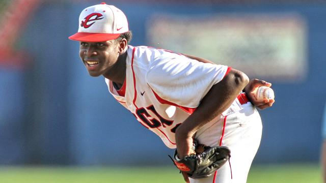 My personal favorite is 18-year-old Touki Toussaint from Coral Christian School, but he may not still be available when the Dodgers pick 22nd. (Photo courtesy of MLB.com)