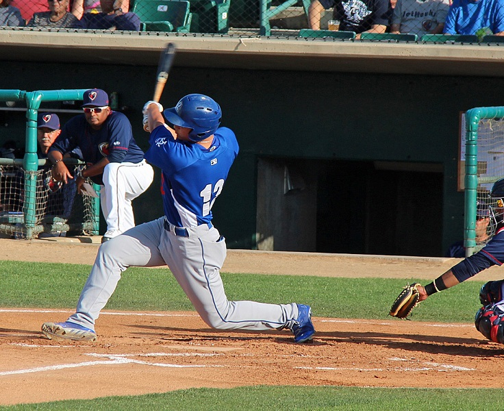 Corey Seager smoked a line drive three-run home run over the right field wall in the first inning of Saturday's game. (Photo credit - Ron Cervenka)