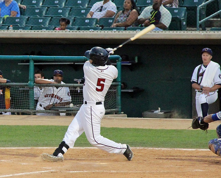 JetHawks third baseman Rio Ruiz sealed the Quakes fate with his grand slam in the second inning of Wednesday night's 16-3 rout over the Quakes. (Photo credit - Ron Cervenka)