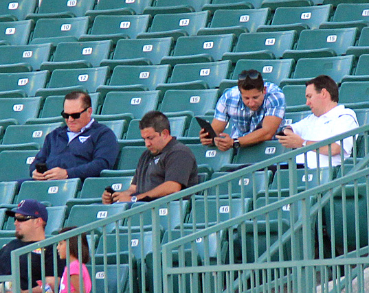 Baseball super agent Scott Boras (top left) was on hand for Wednesday night's game between the Quakes and JetHawks. Boras represent Quakes prospects Corey Seager and Julio Urias and JetHawks star third baseman Rio Ruiz. (Photo credit - Ron Cervenka)
