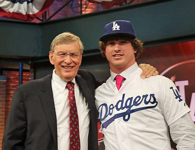 MLB Commissioner Bud Selig with Dodgers first round draft pick Grant Holmes. (Video capture courtesy of MLB.com)