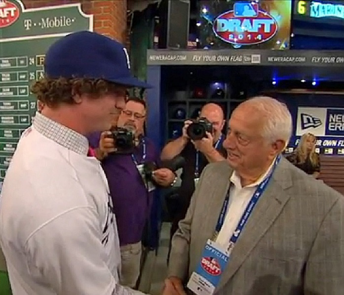 Who better to represent the Dodgers at the 2014 MLB First Year Player Draft than Hall of Fame manager Tommy Lasorda. (Video capture courtesy of MLB.com)