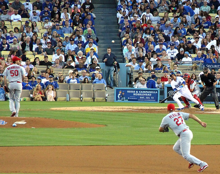 Although Cardinals ace Adam Wainwright pitched exceptionally well against the Dodgers on June 26 at Dodger Stadium, he got beat 1-0  - thanks in a big part to two hits by Miguel Rojas and a clutch RBI single by pinch-hitter Justin Turner. (Photo credit - Ron Cervenka)