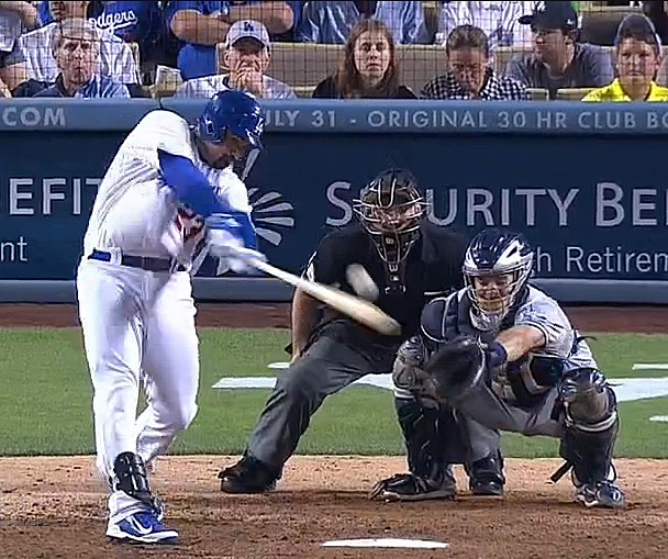 Adrian Gonzalez got things started in the bottom of the ninth with his leadoff double. (Video capture courtesy of SportsNet LA).