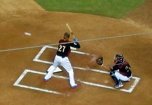 Matt Kemp didn't fair much better that Puig in the 2011 Home Run Derby but he at least hit one out. (Photo credit - Ron Cervenka)