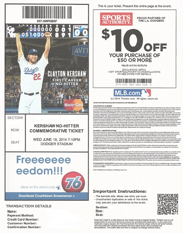 Here it is - the commemorative Kershaw no-hitter ticket as promised by Dodgers President and CEO Stan Kasten.