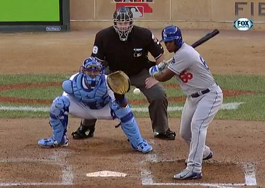 Although Yu Darvish's 3-2 breaking ball appeared to be ball four, it was an absolutely filthy pitch. (Video capture courtesy of Fox Sports)