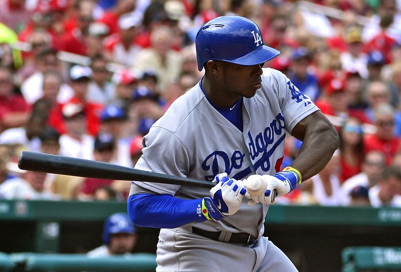 Yasiel Puig will have his left hand X-rayed again on Monday in Pittsburgh. (Photo credit - Jeff Roberson)