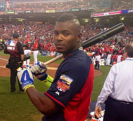 "When Yasiel Puig said ""I'll be right back,"" we didn't realize he actually meant it. (Photo courtesy of @YasielPuig)"