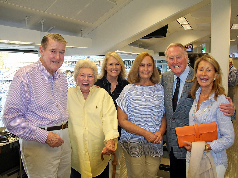 Vin Scully remained close friends with the O'Malley family for over 65 years. Vin is seen here with Peter O'Malley, Jo Lasorda and several other close friends. (Photo credit - Ron Cervenka)