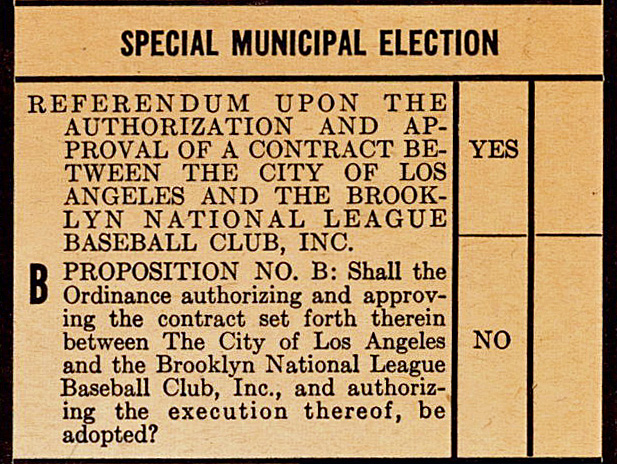 Proposition B as it appeared on the June 3, 1958 ballot. (Image courtesy of  griddle.baseballtoaster.com)