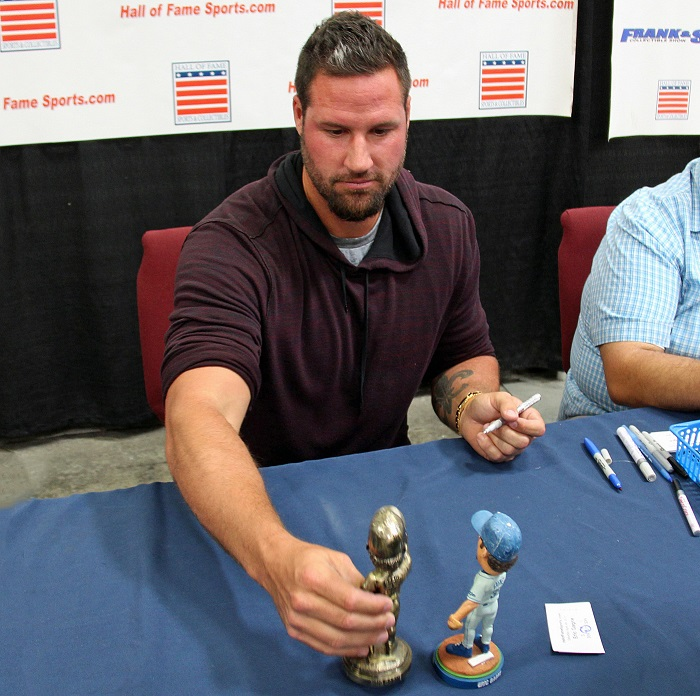 One of the more unusual items that Gagné signed at the Hall of Fame Sports Spring Open House was a goldplated Eric Gagné bobblehead. (Photo credit - Ron Cervenka)