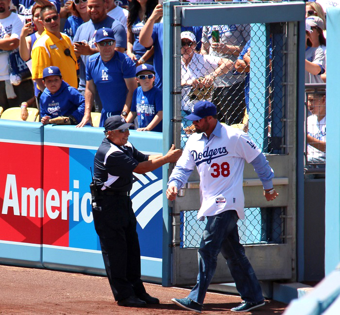 For those who remember, one of the highlights of Monday's Opening Day pre-game festivities was when former Dodgers closer Eric Gagne made his entry to 'Welcome to the Jungle.' (Photo credit - Ron Cervenka)