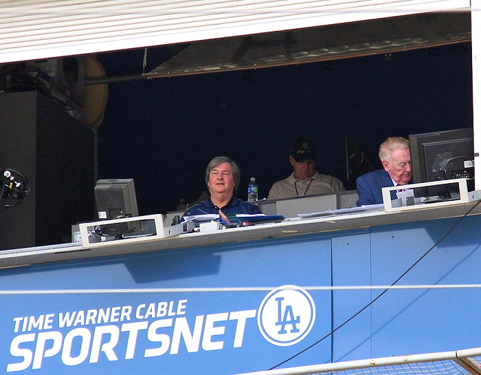 There's a pretty good chance that if you've ever taken a photograph of Vin Scully in the booth at Dodger Stadium, you probably also have a photograph of Boyd Robertson - even if you didn't know his name. (Photo credit - Ron Cervenka)