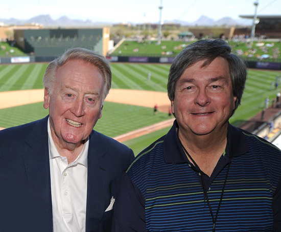 Vin Scully and Boyd Robertson aren't just co-workers, they are also very close friends. (Photo credit - Jon SooHoo)