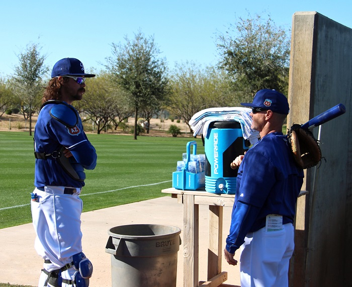 Murphy discussing catching tactics with longtime Dodgers catching coordinator Travis Barbary. (Photo credit - Ron Cervenka)