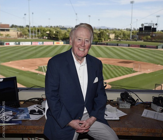 Sierra wasn't the only historical even on Friday night. Hall of Fame broadcaster Vin Scully also made history by officially kicking of his 67th season as the voice of the Dodgers. Unfortunately for Dodger fans, it will be his last, as he is retiring after the 2016 season. (Photo credit - Jon SooHoo)