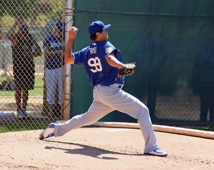 Depending on how Ryu feels on Sunday after throwing a 35-pitch bullpen session on Saturday will give the Dodgers a better understanding of where he stands regarding his return to action. (Photo credit - Ron Cervenka)