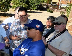 Los Angeles Dodgers Dave Roberts talks to the media before pitchers and catchers workout Sunday, February 21, 2016 at Camelback Ranch-Glendale in Phoenix, Arizona. Photo by Jon SooHoo/©Los Angeles Dodgers,LLC 2016