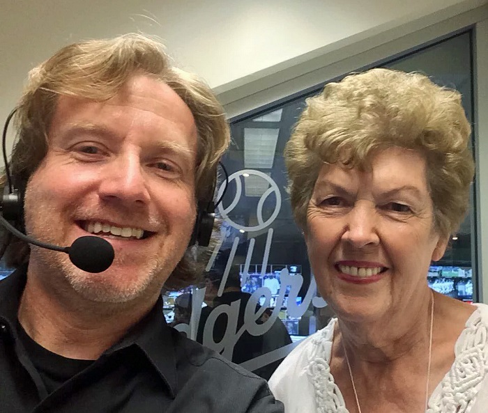 Dieter Ruehle with his predecessor Nancy Bea, who stopped by Dodger Stadium for a visit. (Photo courtesy of @DieterRuehle)
