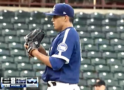"De Leon threw an extremely rare ""immaculate inning"" in his last outing with the OKC Dodgers, striking out the first three batters he face on nine consecutive pitches. (Click on image to view video)."