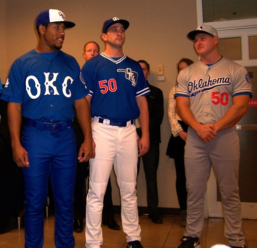 55f5de95 The new OKC Dodgers uniforms closely resemble those of their parent team.  (Photo credit