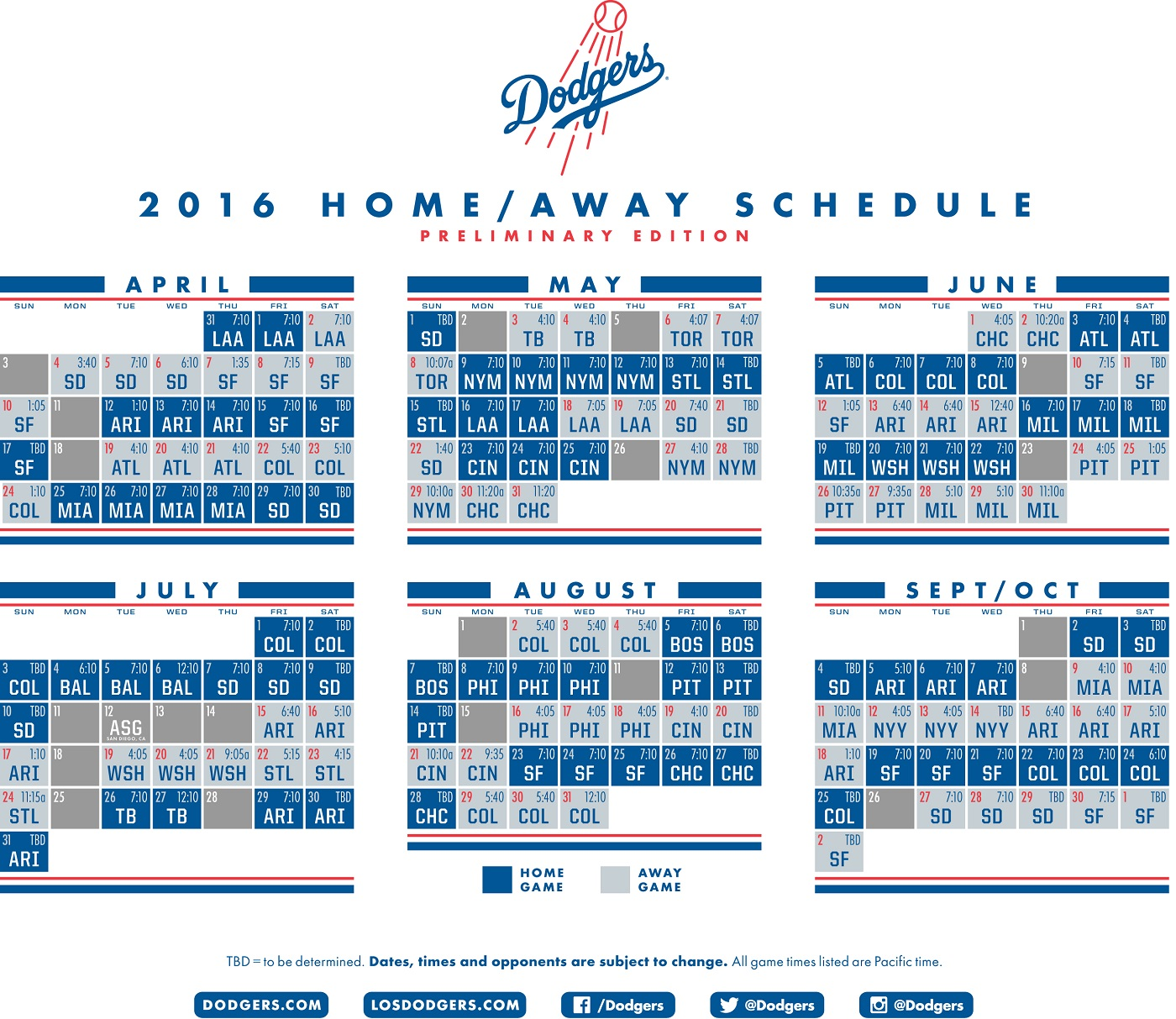 dodgers release preliminary 2016 schedule | think blue la