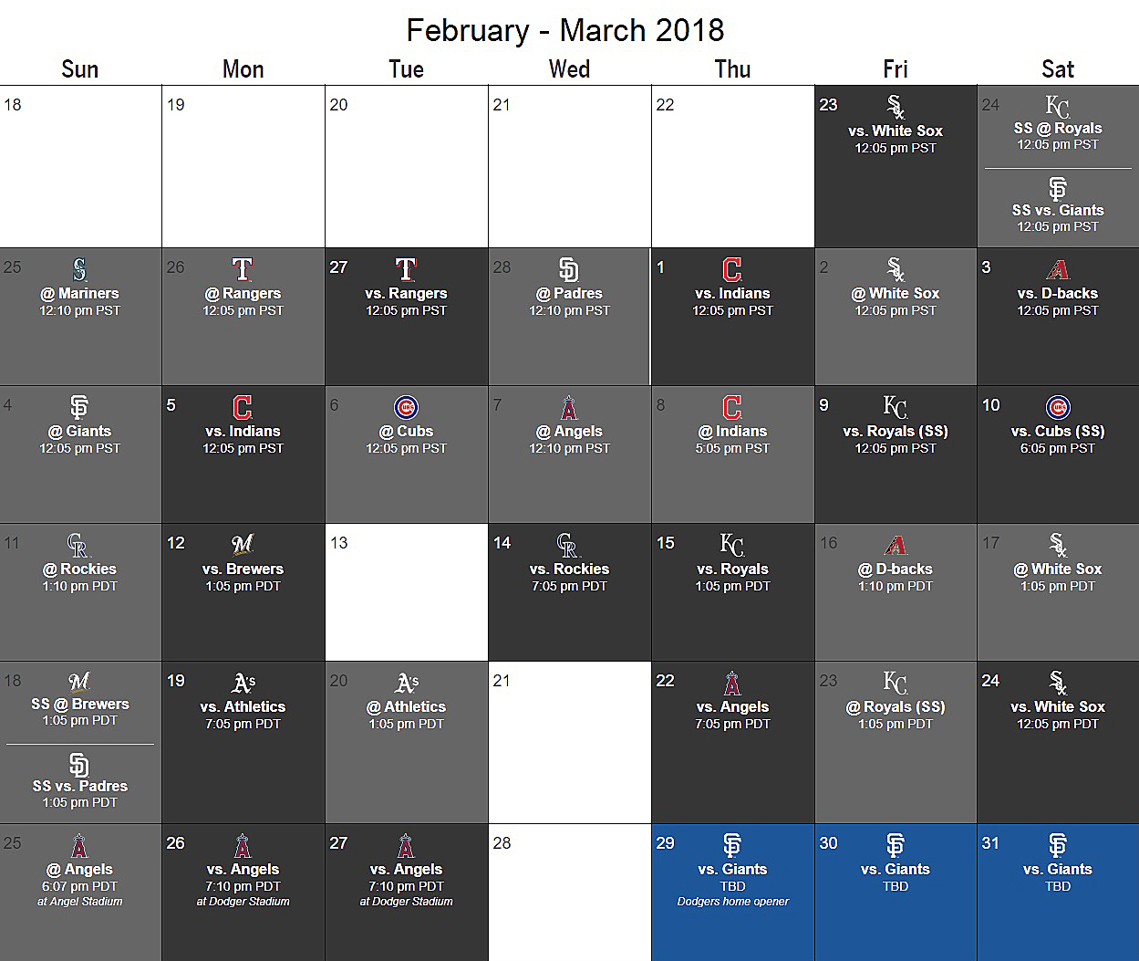 dodgers announce 2018 spring training schedule | think blue la