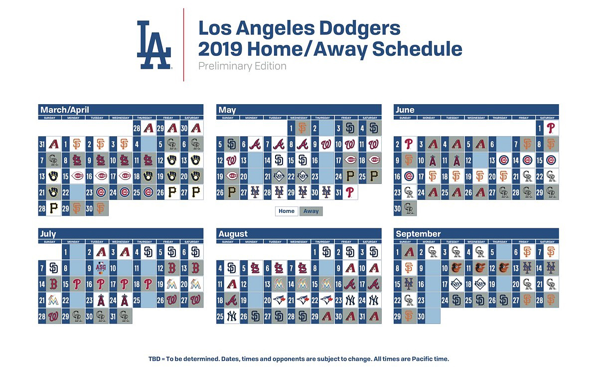 photo relating to Yankees Schedule Printable called Dodgers announce 2019 first timetable Imagine Blue LA